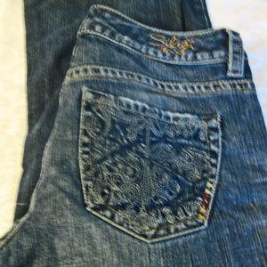 Womens Distressed Silver Lola Jeans Size 27W/L33